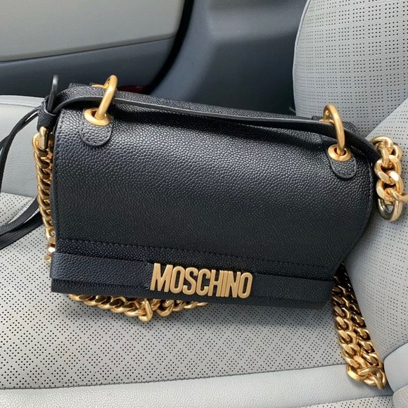 Moschino black leather pebbled bag gold chain